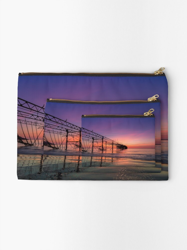 Alternate view of  Totland Pier Caught In The Afterglow Zipper Pouch