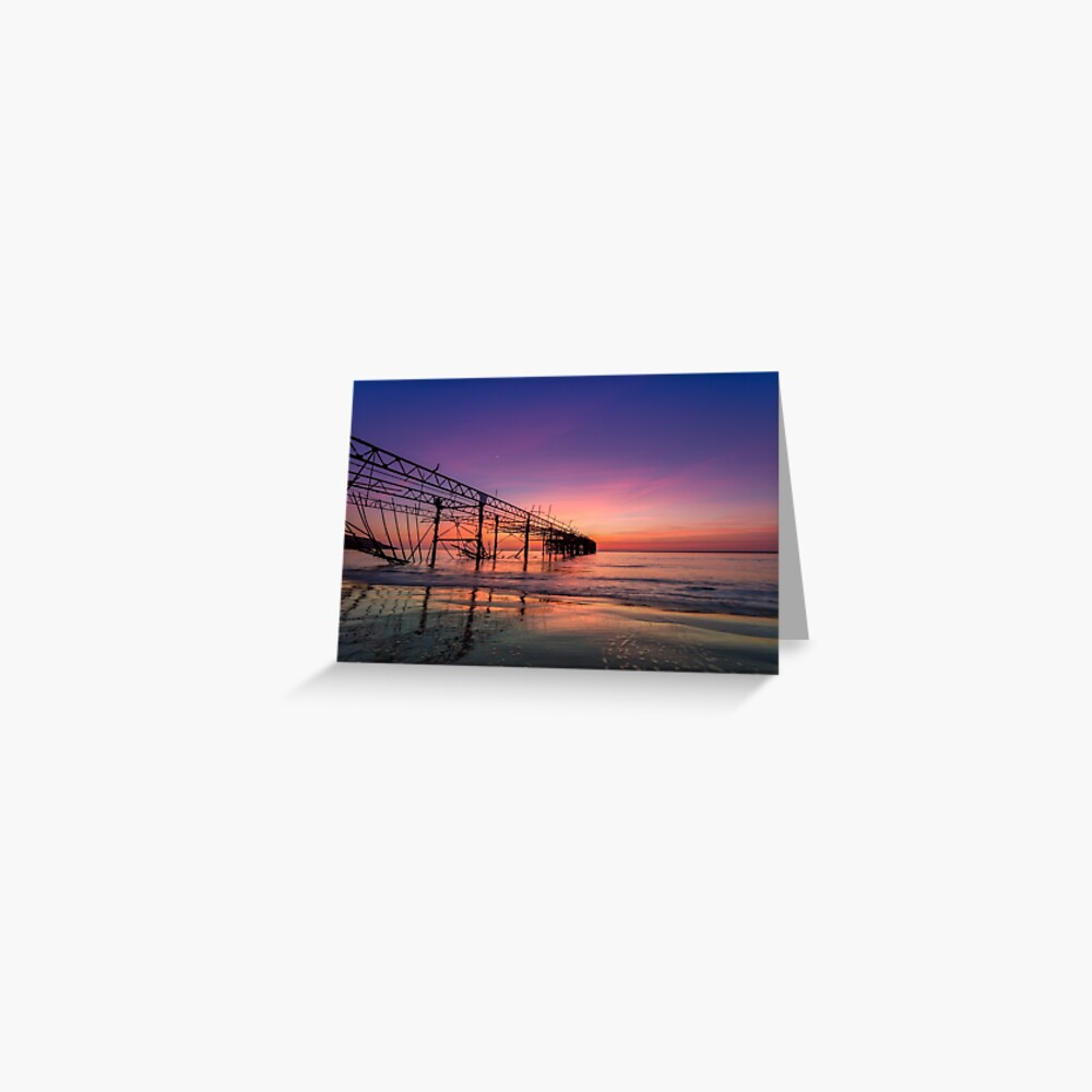 Totland Pier Caught In The Afterglow Greeting Card