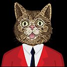 Cat in Suit and Glasses by Ricaso