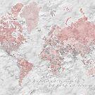 Staubige rosa, graue und Marmorweltkarte mit Städten von blursbyai
