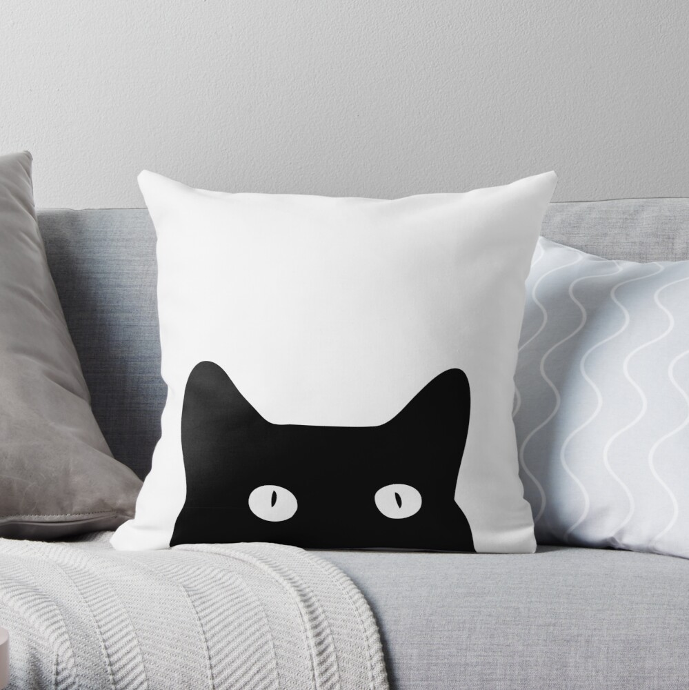Black Cat Throw Pillow