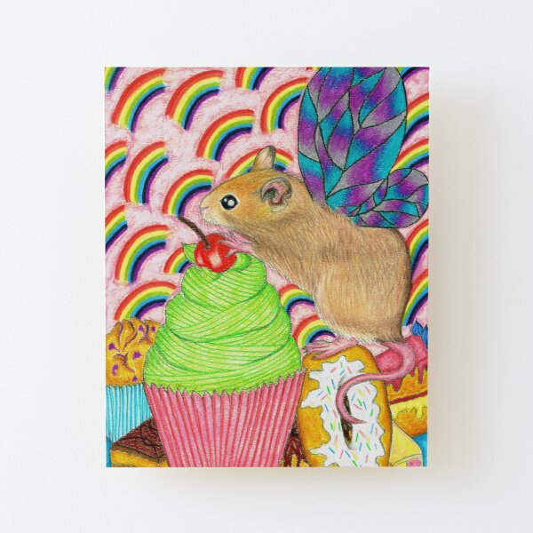 Cupcake fairy Mouse Wood Mounted Print