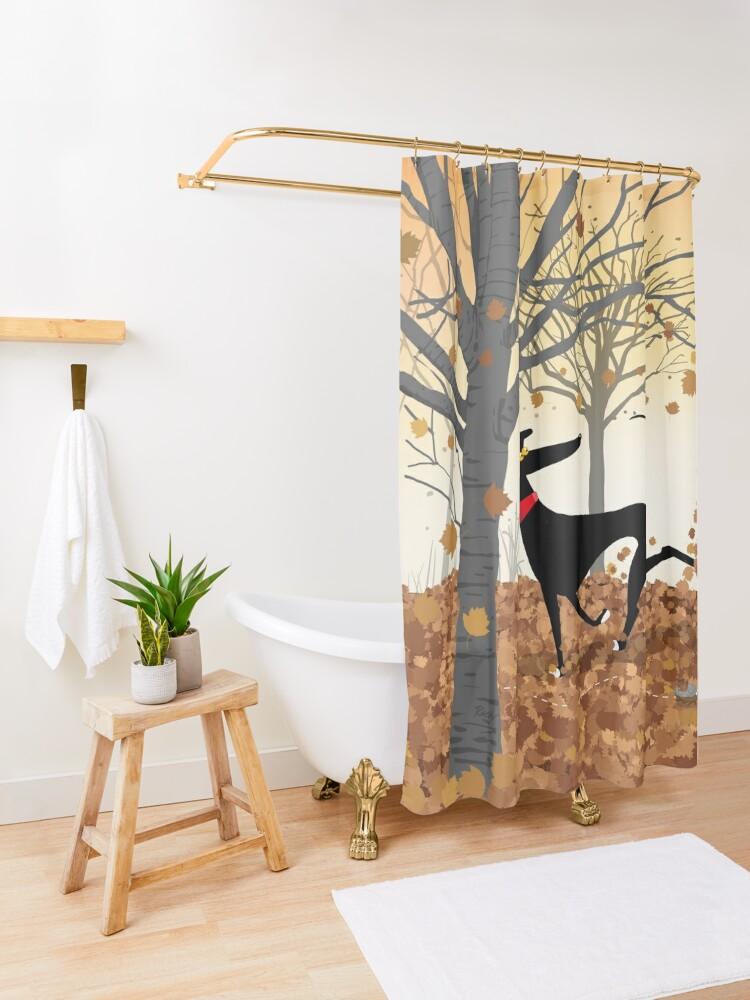 Alternate view of Autumn Hound Shower Curtain