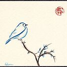 Morning Chirp - original watercolor painting of a little blue bird by Rebecca Rees