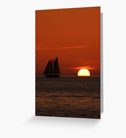 Sunset Schooner in Key West, FL Greeting Card
