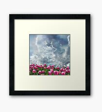 Resubmit of Clouds and Tulips Framed Print