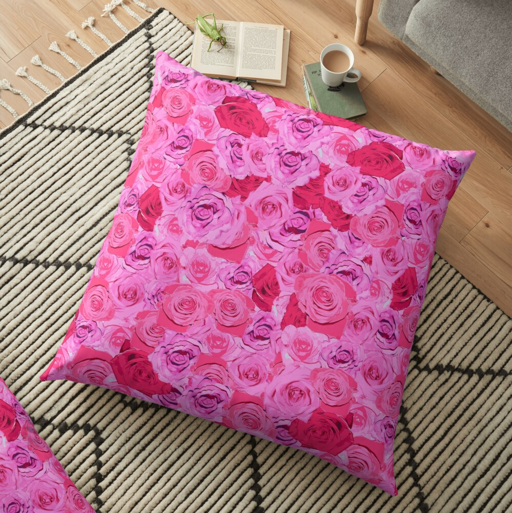 Floral Pink And Red Roses Tumblr Aesthetic Floor Pillow By
