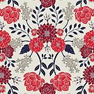 Sophisticated Red, Navy Blue & Gray Floral Pattern by somecallmebeth