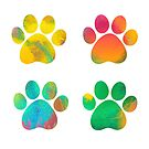 Colorful Watercolor Paws Set of Four by blessedliez