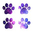 Galaxy Purple Paws Set of Four by blessedliez