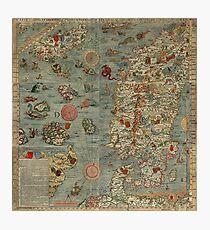 Carta Marina - Seeungeheuer Karte Fotodruck