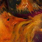 Phoenix: fluid acrylic pour painting, digital art; mythical creature by kerravonsen