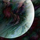 Planet Tourmaline: fluid acrylic pour art, digital art; outer space decor by kerravonsen