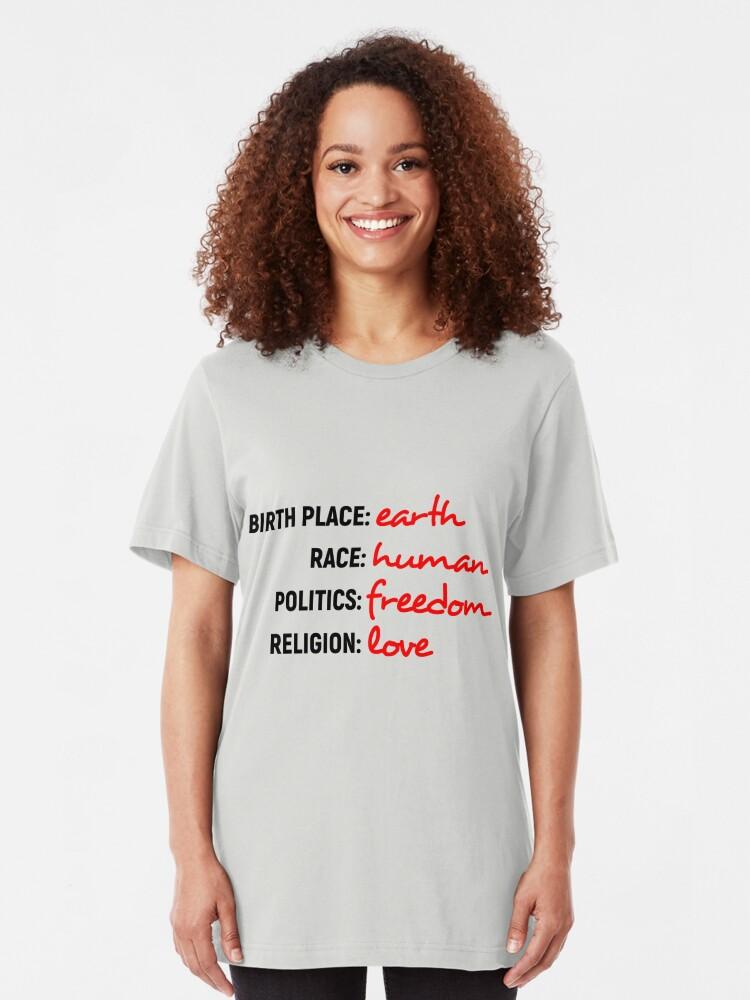 Alternative Ansicht von Bin nur ein Mensch Slim Fit T-Shirt