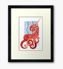 Magic Octopus - Red Framed Print