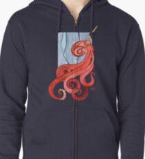 Magic Octopus - Red Zipped Hoodie