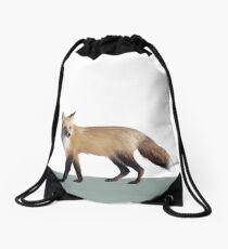 Fox on Sage Drawstring Bag