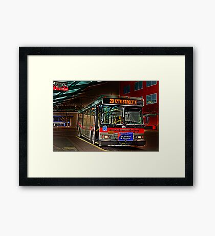 City bus reflections  Framed Print