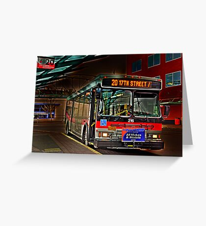 City bus reflections  Greeting Card
