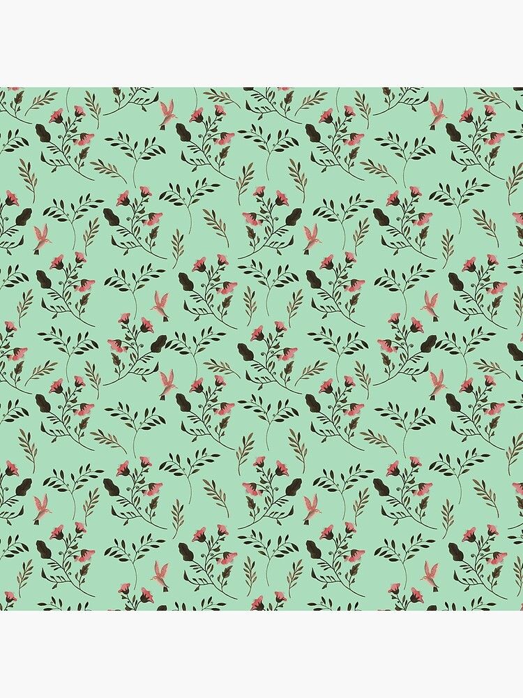 Small Rose Flowers and Hummingbirds Floral Pattern Flowers in Pink and Bark Brown on Mint Green by podartist