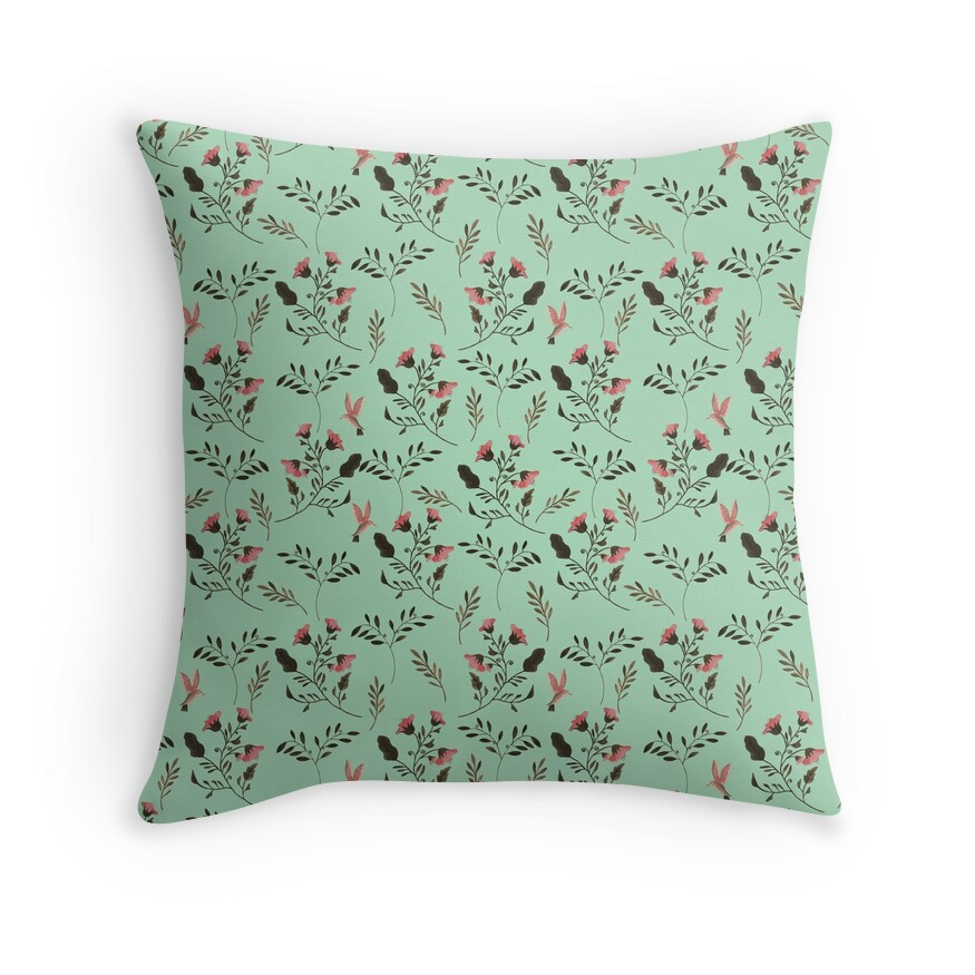 Small Rose Flowers and Hummingbirds Floral Pattern Flowers in Pink and Bark Brown on Mint Green