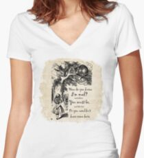 Alice In Wonderland Quote - How Do You Know I'm Mad Fitted V-Neck T-Shirt
