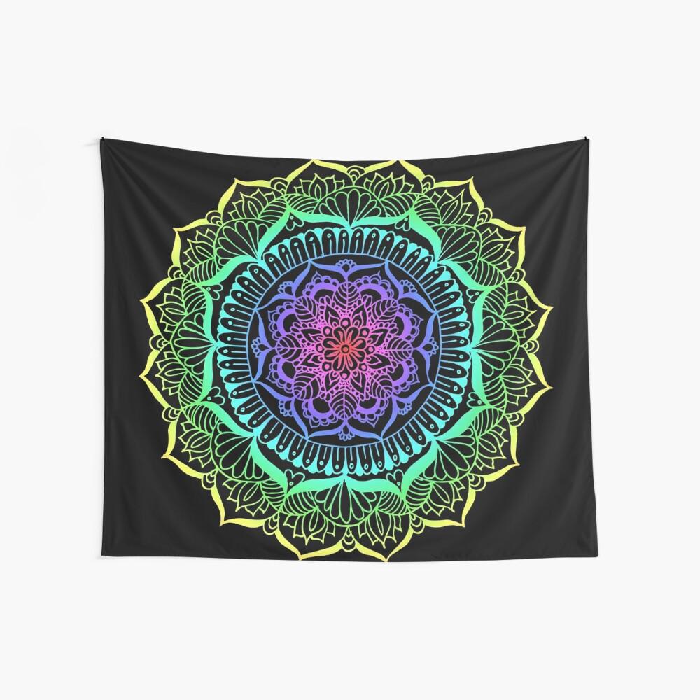 Rainbow Flower Mandala Wall Tapestry