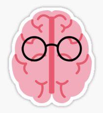 Brain Glasses Glossy Sticker