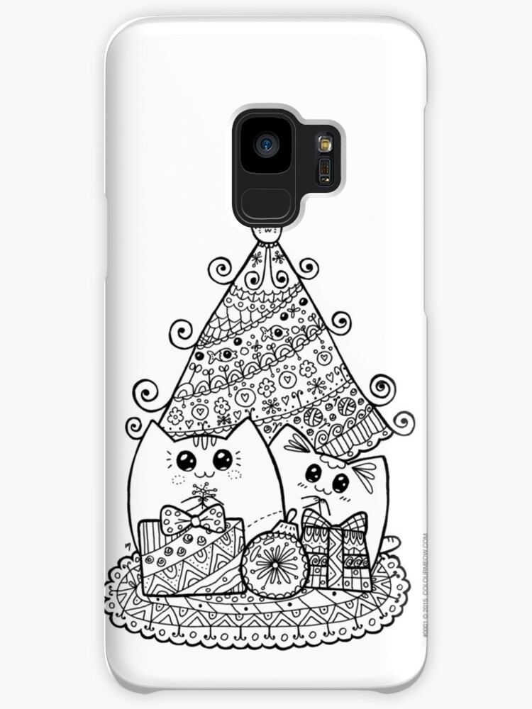 Christmas Cats With Gifts Kawaii Cat Colouring Drawing Cases