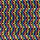 Abstract Rainbow Wavy Lines On Black by CreatedProto