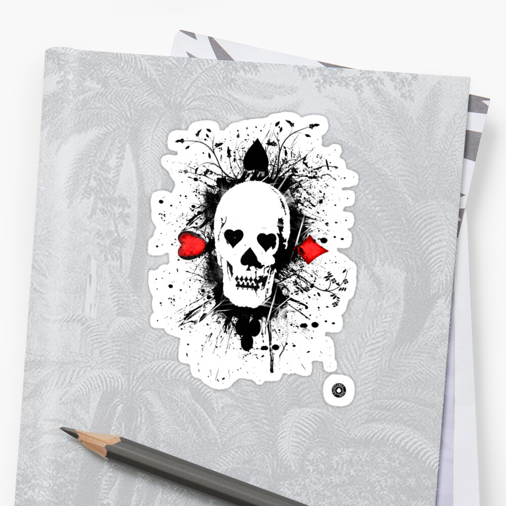 Poker skull with splater all over by bluffingpotspk