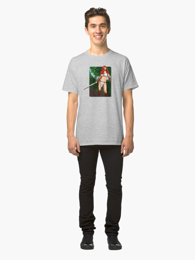 Alternate view of Red Haired Barbarian Babe Classic T-Shirt