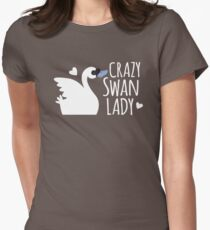 Crazy Swan Lady Womens Fitted T-Shirt