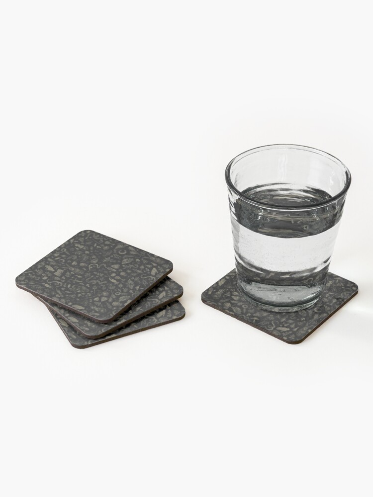 Alternate view of Just Witch Things (black and beige) Coasters (Set of 4)