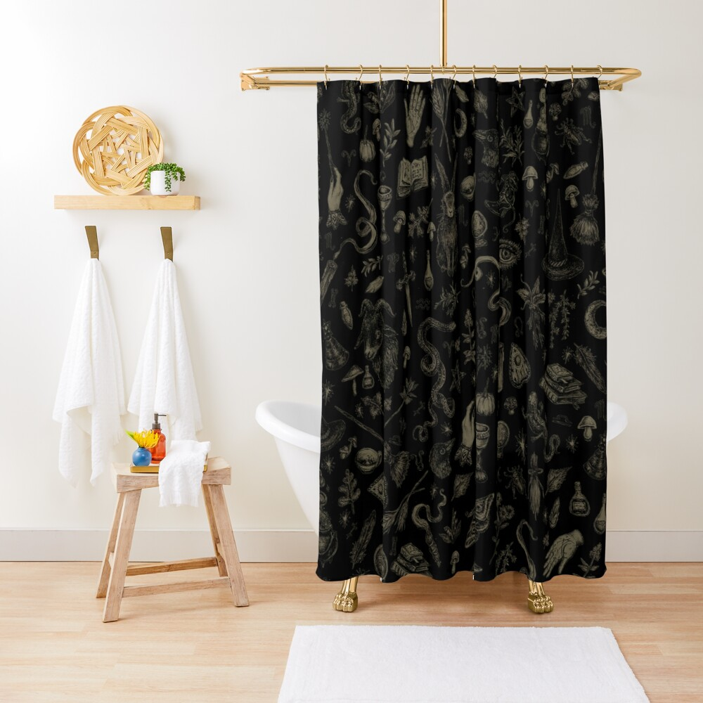 Just Witch Things (black and beige) Shower Curtain