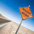 Rough Road Sign in Death Valley by Mark Sayer