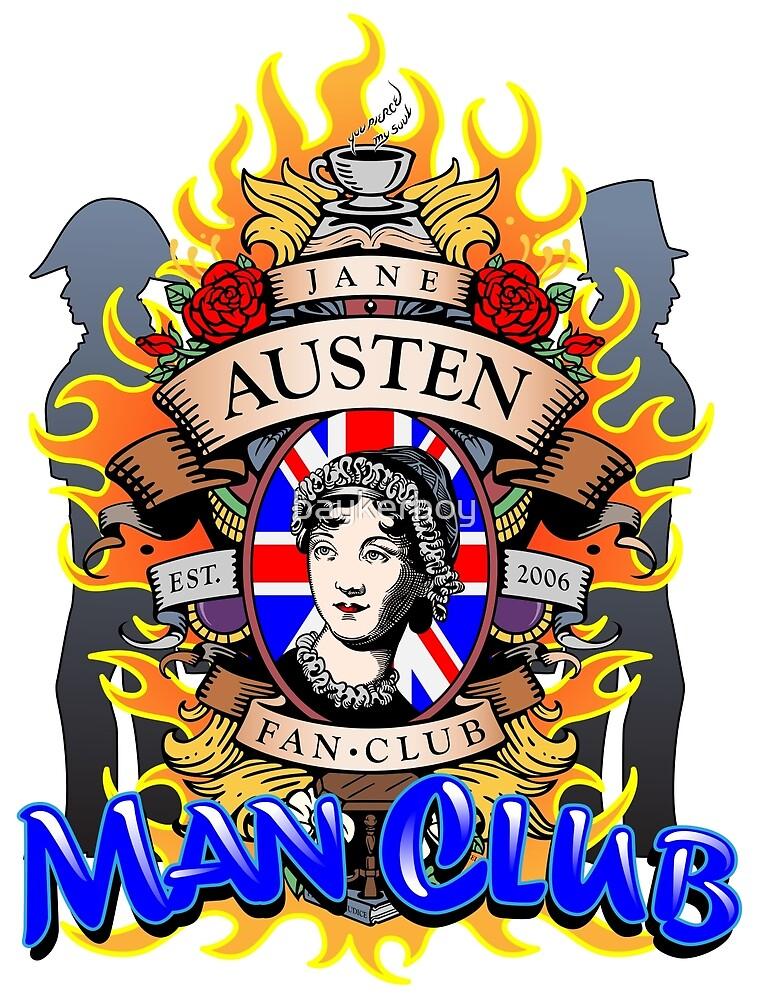 Jane Austen Man Club Tee shirt by baykerboy