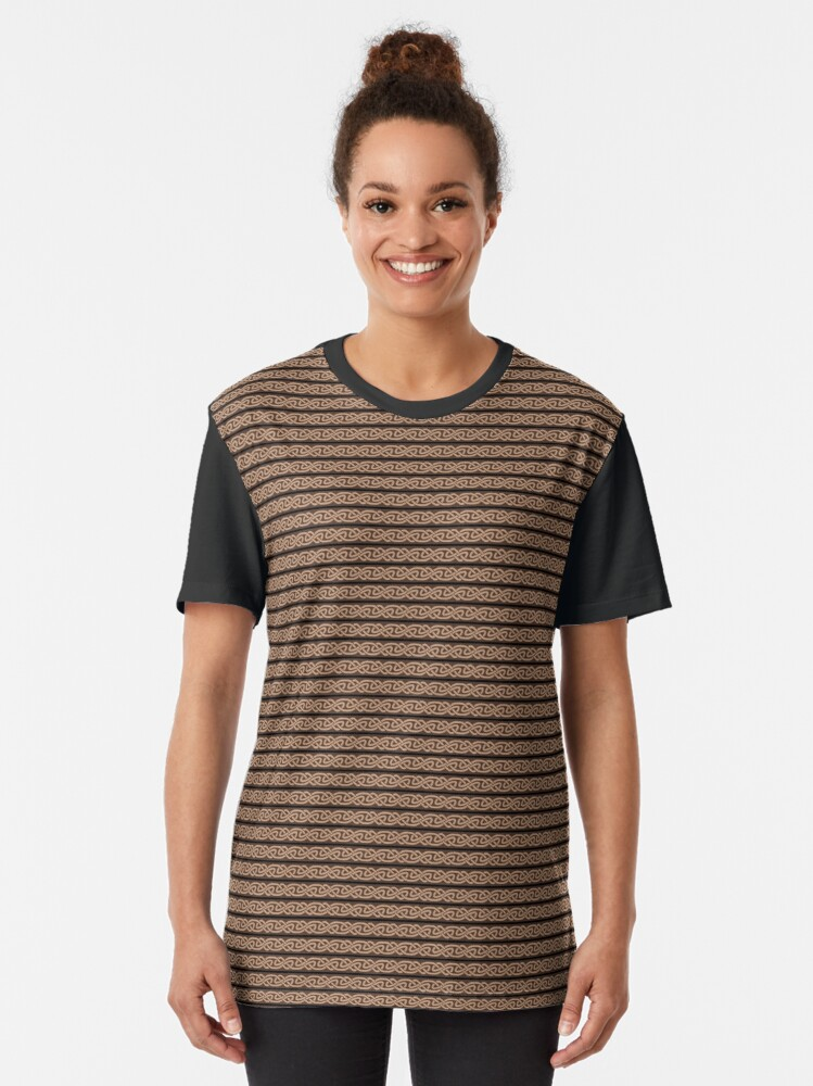 Alternate view of Knotwork and Lines - Tan Black and Brown Graphic T-Shirt