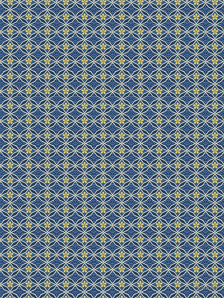 Asian Traditional Inspired in Blue and Gold by Sarinilli
