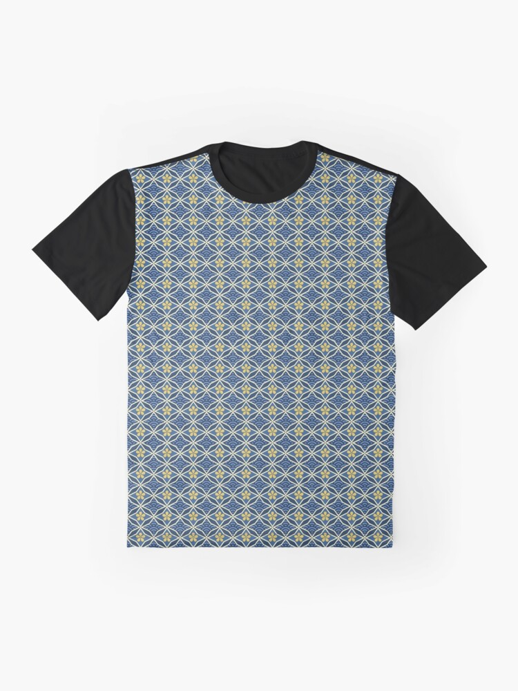 Alternate view of Asian Traditional Inspired in Blue and Gold Graphic T-Shirt