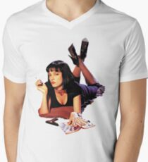 Uma Thurman Pulp Fiction Trasparent Png  V-Neck T-Shirt