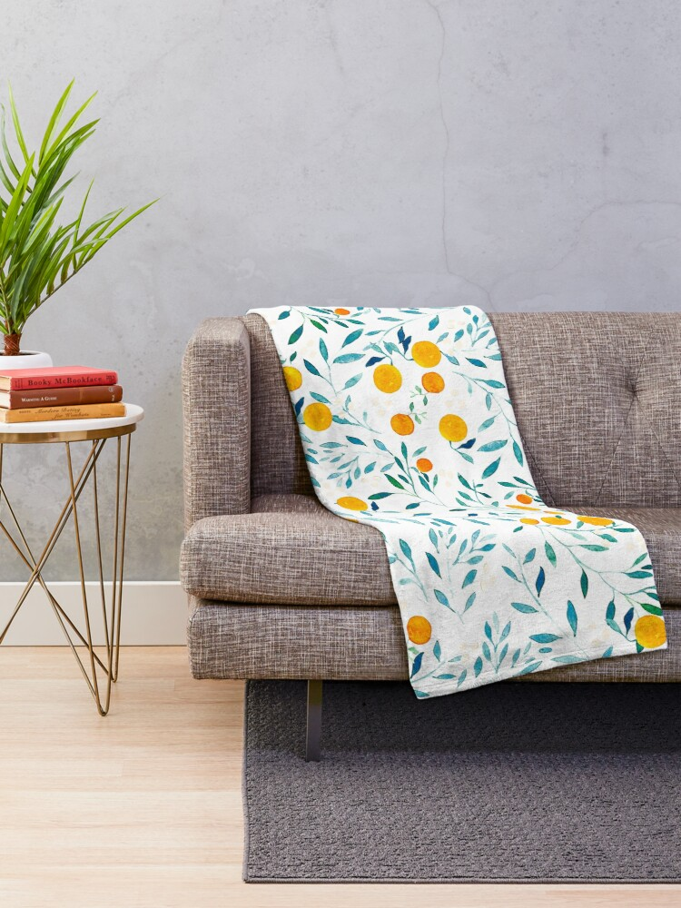 Alternate view of Orange Tree Throw Blanket