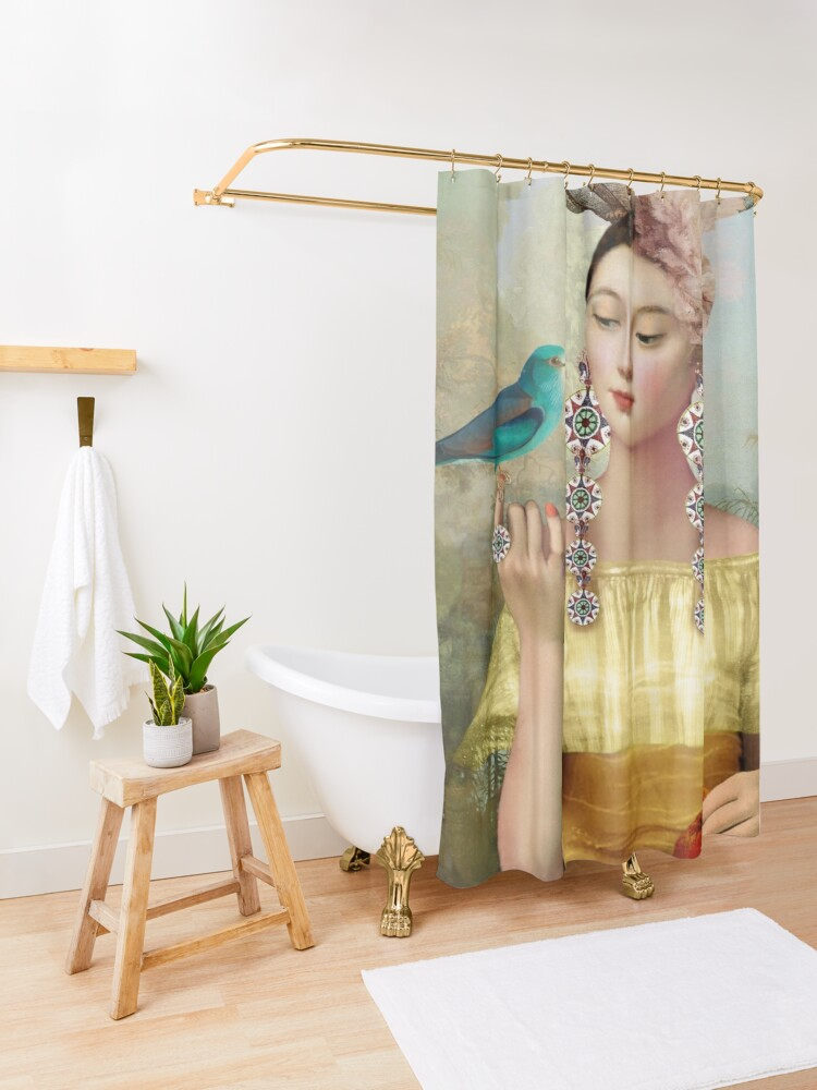 Alternate view of Nine of Pentacles Shower Curtain