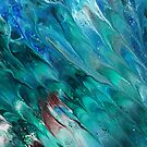 Salmon Swimming: fluid acrylic pour painting by kerravonsen