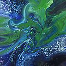Sea Dragon: fluid acrylic pour painting; fantasy painting by kerravonsen