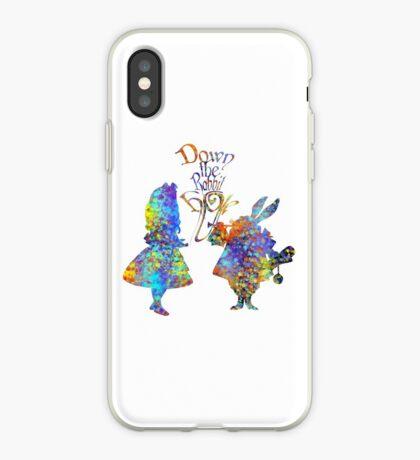 Salpicadura de acuarela colorida de Alicia en el país de las maravillas y conejo blanco Vinilo o funda para iPhone