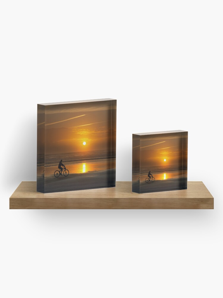 Alternate view of Silhouette of a cyclist along Cannon Beach Oregon Acrylic Block