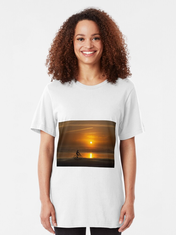 Alternate view of Silhouette of a cyclist along Cannon Beach Oregon Slim Fit T-Shirt