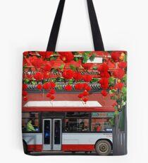 Beijing - Bus and red lanterns Tote Bag