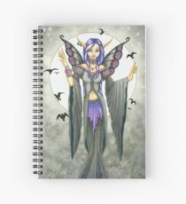 Purple and Black Winged Fairy Spiral Notebook